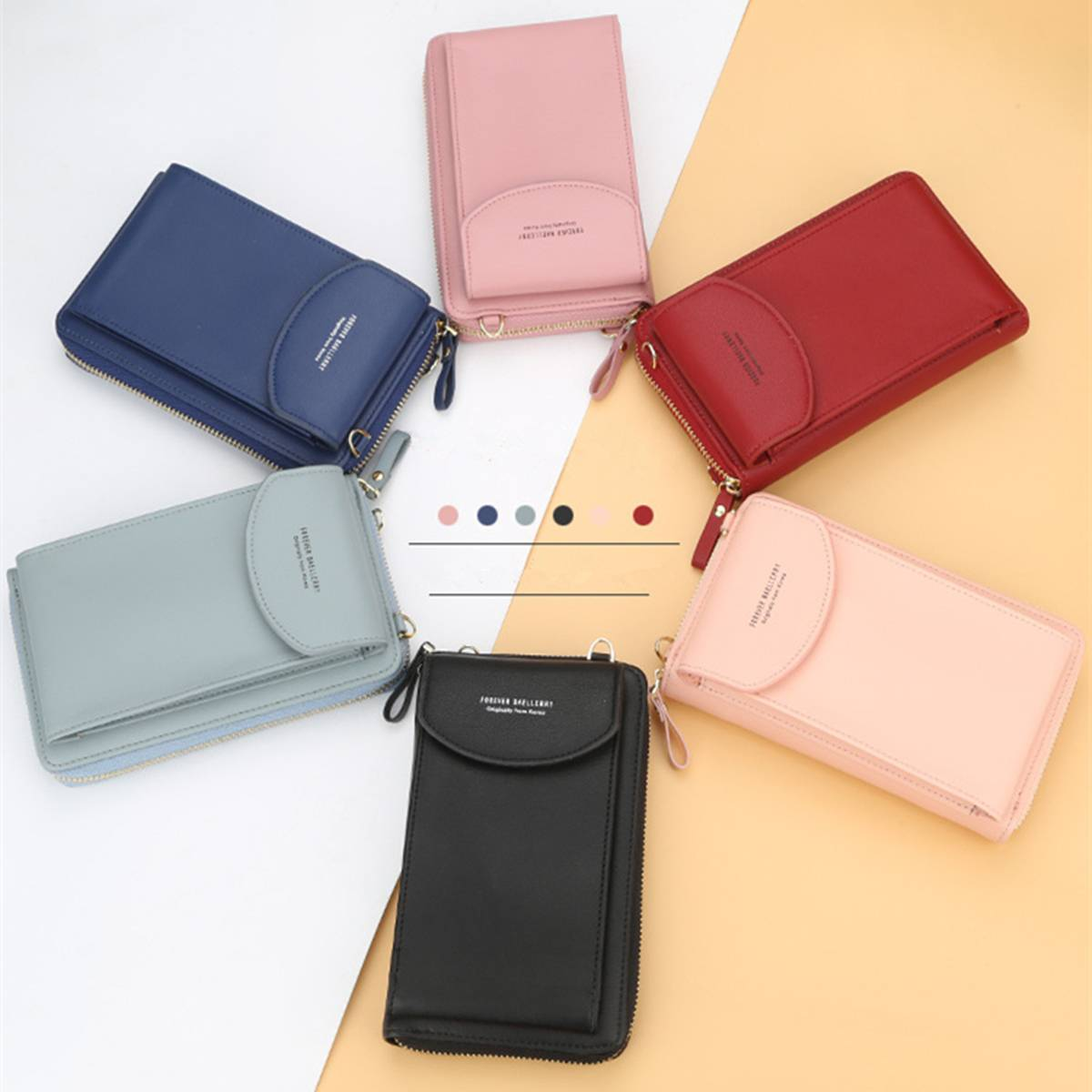 AEQUEEN 2019 Fashion Women Small Handbag Female Long Purse Coin Cell Phone Mobile Phone Crossbody Shoulder Bag In Macaron Colors