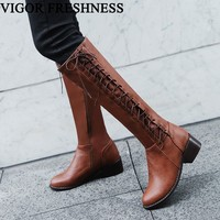 VIGOR FRESHNESS Boots Women Shoes Warm Long Boots Woman Knee High Boots Autumn Shoes Sexy Winter Boots Cross tied Heels MY81