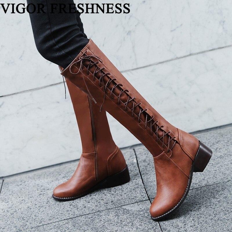 KRAFT FRISCHE Stiefel Frauen Schuhe Warme Lange Stiefel Frau Kniehohe Stiefel Herbst Schuhe Sexy Winter Stiefel Kreuz-gebunden heels MY81