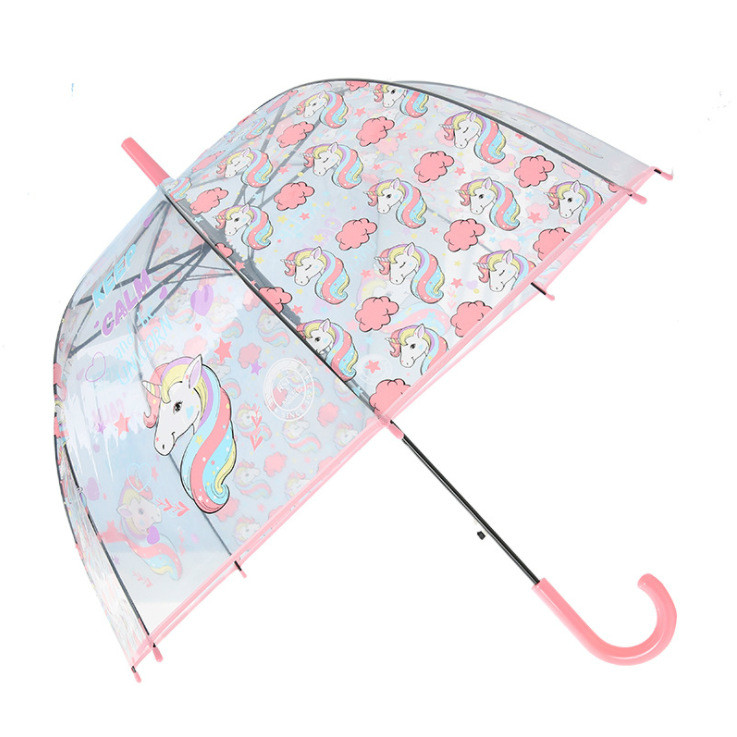 New Unicorn Umbrella Cartoon Environmental Protection Transparent Umbrella Lady Straight Handle Umbrella Apollo Bird Cage Style