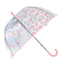 Новый Зонт с единорогом мультфильм охраны окружающей среды прозрачный зонтик леди зонтик с прямой ручкой Apollo Bird Cage Стиль