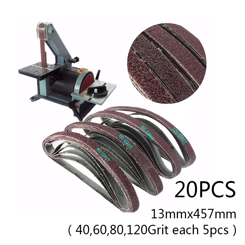 20 Pcs Metal 13mmx 457mm SANDING BELTS #40-120 MIXED GRIT 13 X 457 POWERFILE