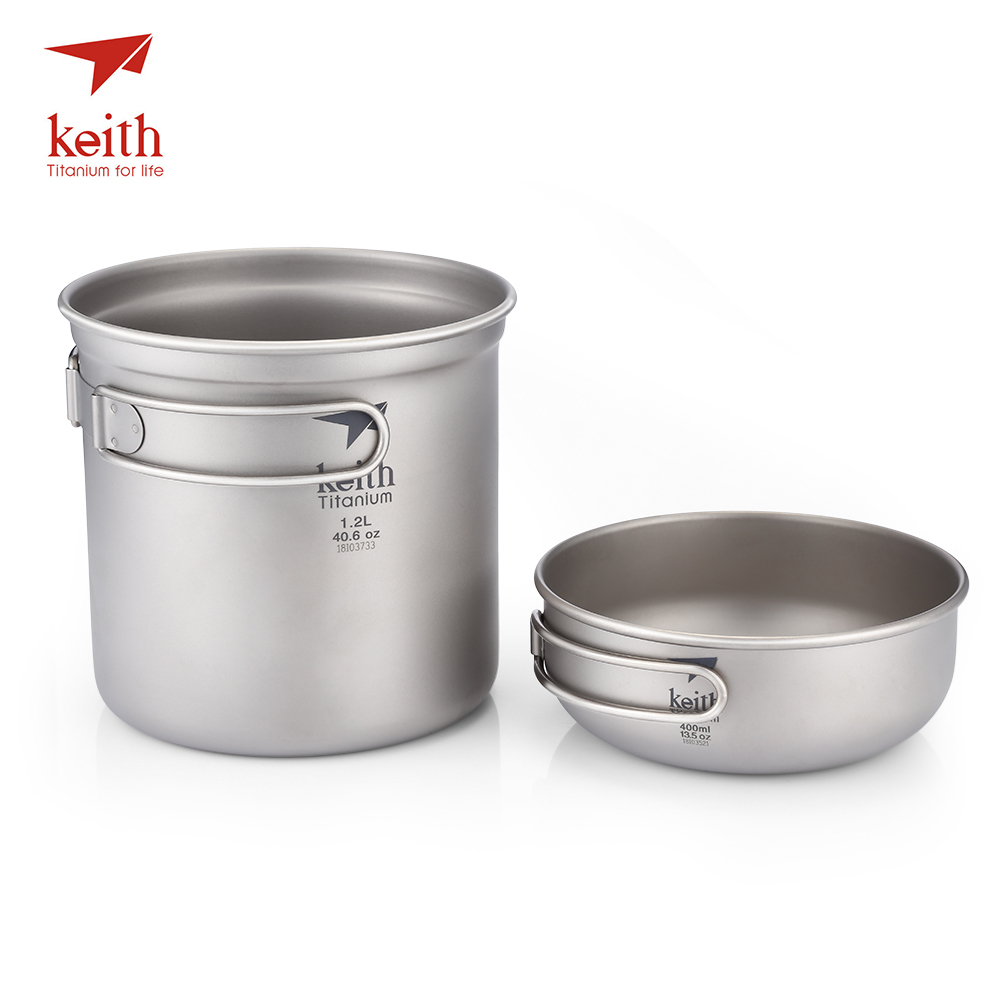 Keith Titanium Pots Set Portable Foldable Handle 1.2L Bowl + 400ml Pot Bowl BBQ Picnic Camping Hiking Cookware Outdoor Tableware