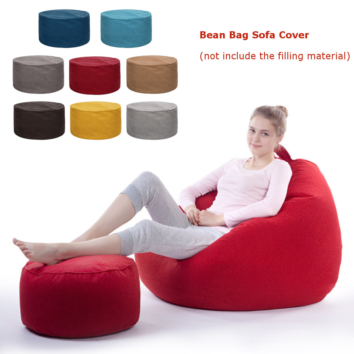Cotton Footstool Cover Home Sofa Round Stool Bean Bags Sofa Lounger Cover Soft Washable Without Filler For Living Room Table