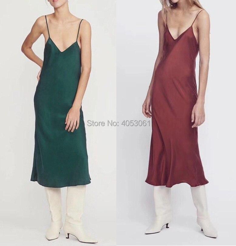 Top Quality Slik 100 Strap Dress 2019 Spring Summer Women White Burgundy Black Navy Malachite Green