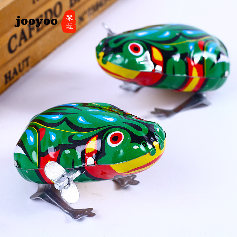 Hot Sale Iron Frog Jumping Frog Clockwork Child Baby Toy Classic Toys Animal Metal Toy Baby Classic Gift jooyoo