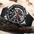 Лидирующий бренд MEGIR мужские креативные модные спортивные часы силиконовые водонепроницаемые часы 24 часа Мужские кварцевые наручные часы ...