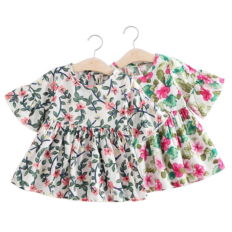 2019 nuevo vestido de algodón con estampado de manga trompeta y cómodo para niñas