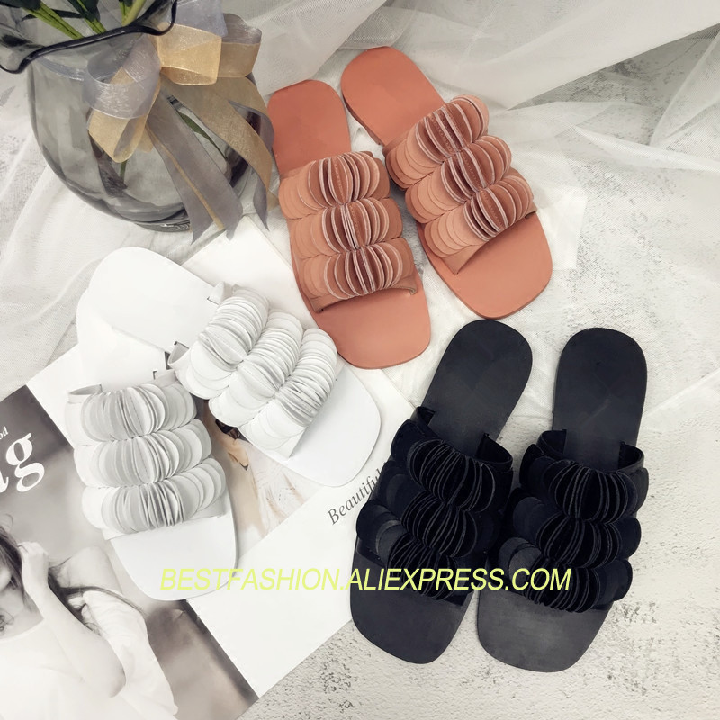 Hot Summer Shoes Woman Slippers Leather Cozy Flats Designer Chic Casual Slides Open Toe Woman Outside Slippers Beach ShoesHot Summer Shoes Woman Slippers Leather Cozy Flats Designer Chic Casual Slides Open Toe Woman Outside Slippers Beach Shoes