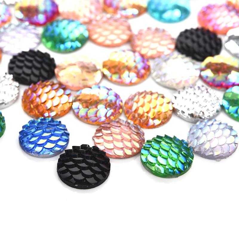 50pcs/Lot 12mm Cabochon Mix Colors Fish Scale Round Flat Back Resin Cabochon Jewelry Making Findings DIY Accessories image
