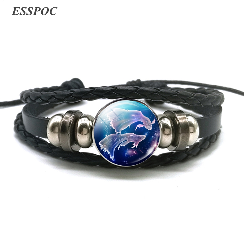 12 Constellation Bracelet Charms Zodiac Sign Glass Cabochon Punk Jewelry Black Multilayer Leather Bracelet Women Men Gift 2018 in Wrap Bracelets from Jewelry Accessories