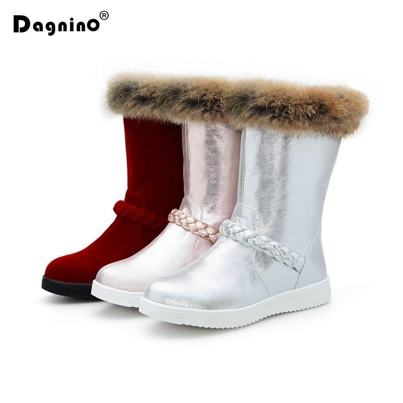 DAGNINO 2017 Winter Warm Plush Snow Boots Women Short Fashion Mid Calf Pearl PU Leather Shoes Fur Rabbit Hair Ankle Boots Woman