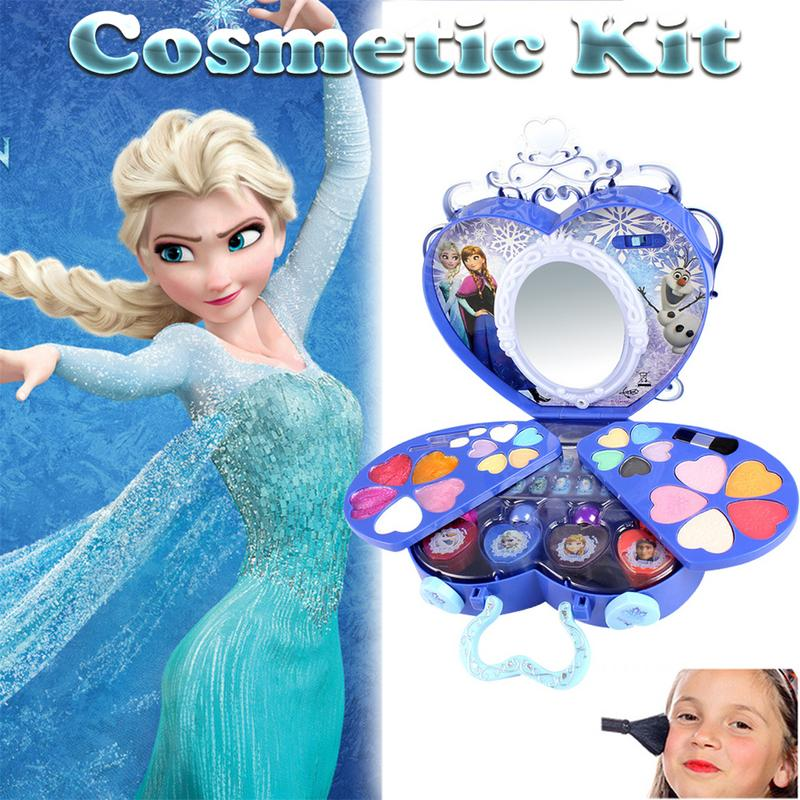 Disney Frozen Elsa Anna Makeup Set Girls Pretend Play Toys Practice Make Up Toy Simulation Dresser Toy For Kds Birthday Gift