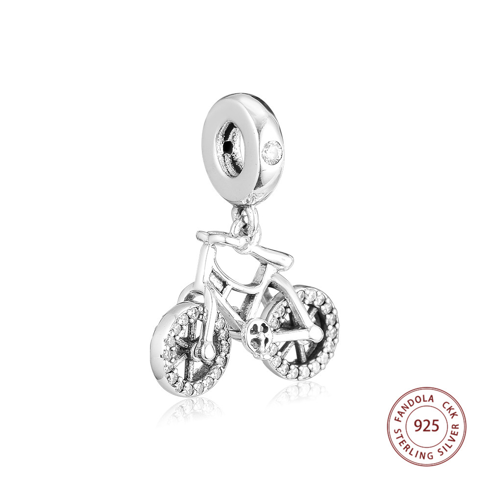 Fandola 100% 925 Sterling Silver Brilliant Bicycle Hanging Beads for Women Original 925 Charm Bracelets Necklace DIY JewelryFandola 100% 925 Sterling Silver Brilliant Bicycle Hanging Beads for Women Original 925 Charm Bracelets Necklace DIY Jewelry