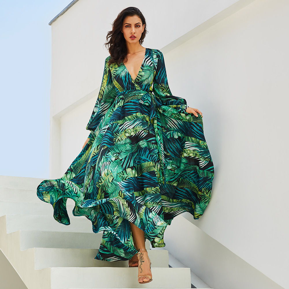 Plus Size Long Sleeve Fashion Dress Green Tropical Beach Vintage Maxi Dress