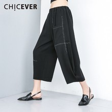 CHICEVER D'été décontracté Imprimé Rayé Noir Femme Pantalon Élastique Taille Moyenne Poches Longueur Cheville Femmes Pantalon à Jambes Larges 2019 Mode