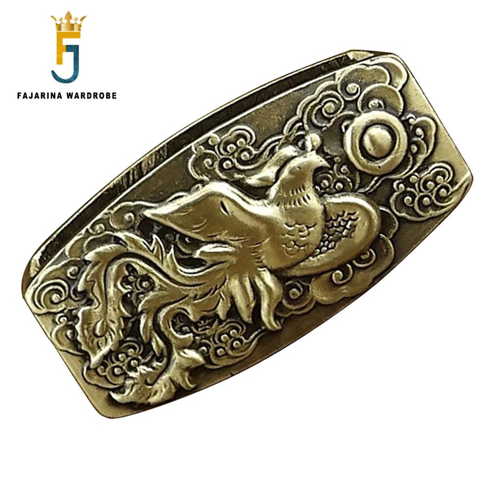 FAJARINA Unique Design Pure Copper Meson Fixed Copper Ring Brass Buckle Only For 3.6-3.9cm Width Belt Free Shipping BCK043