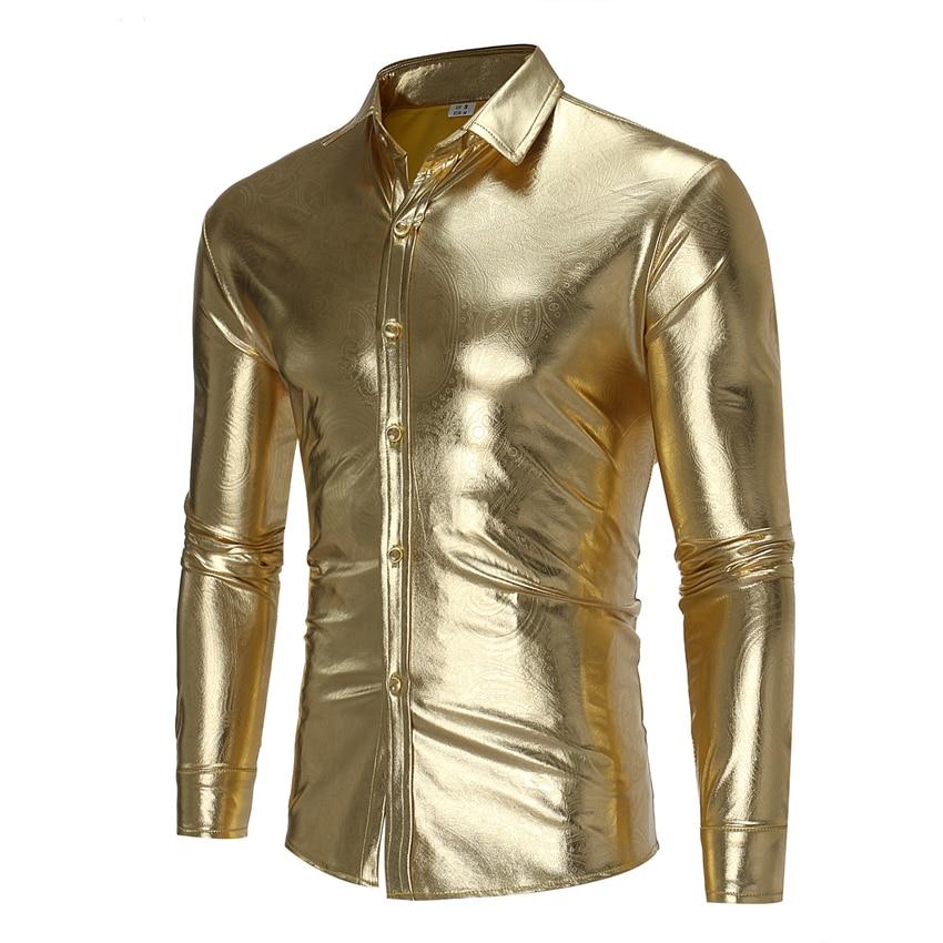 2019 Trend Gold Shiny Shirt Men Night Club Party Metallic Shirts Chemise Homme Stage Performance Slim Dress Shirt for Man