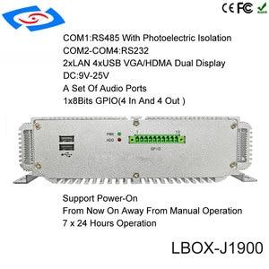 Image 3 - fanless mini pc 4G ram 64G SSD intel celeron processor J1900 industrial computer support wifi dual Lan rs232 12v barebone system