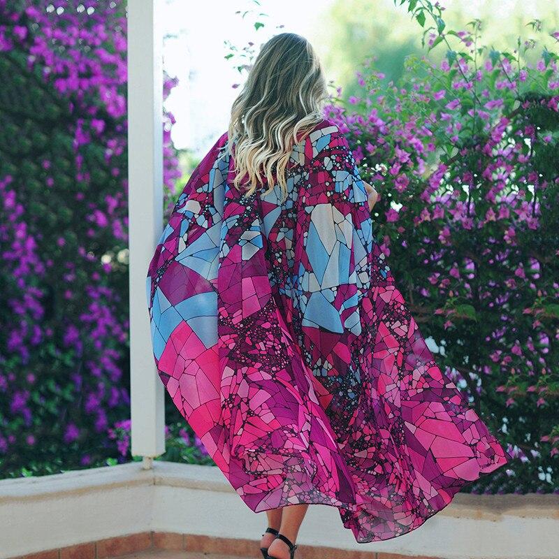 Women Floral Kimono Cardigan Ladies Bikini Cover Up Elegant Beach Dress Elegant Playa Transparent Beachwear Bathing Suits