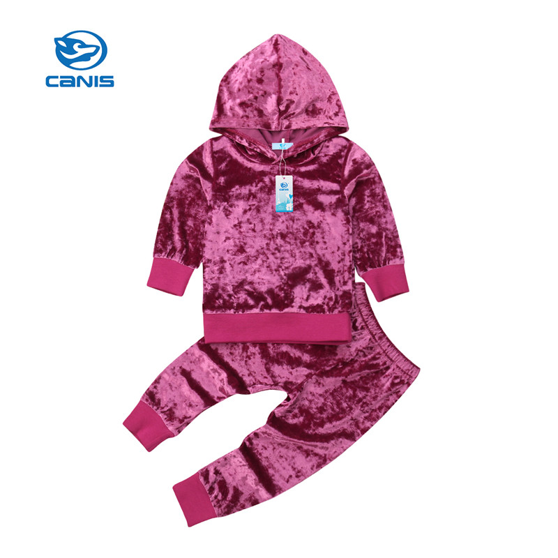Toddler Kids Baby Girl Clothes Velvet Sweatshirt Tops Pants Tracksuit Outfit Set