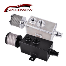SPEEDWOW 1L Aluminum Oil Catch Can Reservoir Tank Oil Catch Can With Breather Filter+Drain Tap speedwow universal aluminum engine oil catch reservoir breather tank can with vacuum pressure gauge oil catch tank can