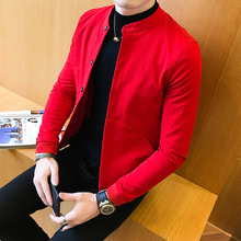 2019 Fashion Man Self-cultivation Solid Color Long Sleeve Casual Jacke