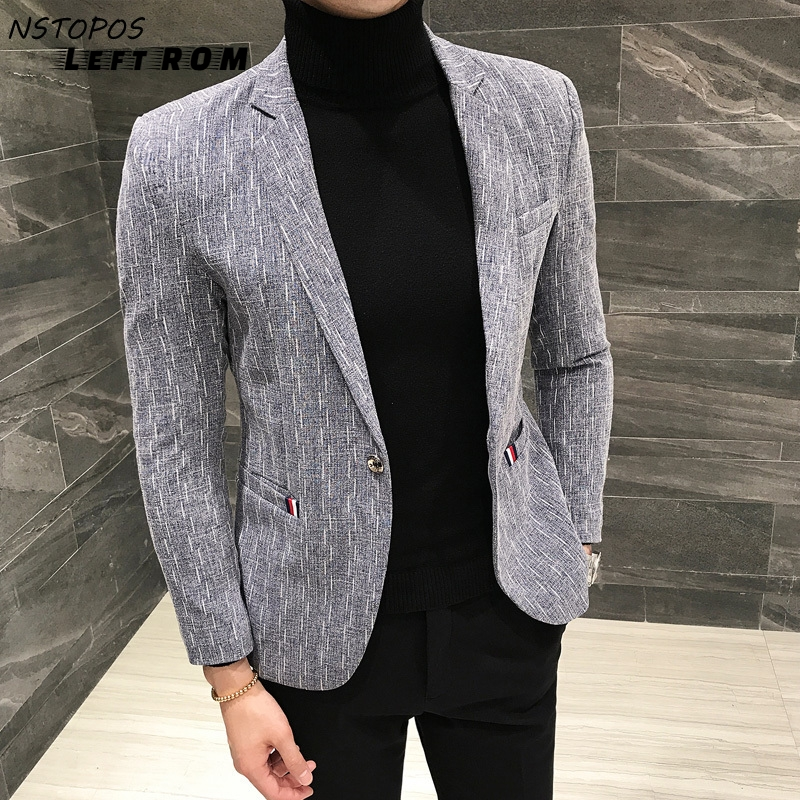 Blazer Hombre 2019 New Brand Slim Fit Casual Blazer Men Grey Blue Black 3XL Men Jacket Blazer Masculino Stylish Blazers For Men