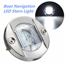 Baru DC 12 V Marine Boat Transom LED Light Bulat Stainless Steel Dingin Putih LED Ekor Lampu Yacht Aksesoris putih/Warm White(China)