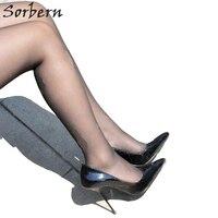Sorbern пикантные слипоны женская обувь лодочки стилеты металлический каблук Фетиш Осень Насосы Высокие каблуки ночной клуб туфли лодочки