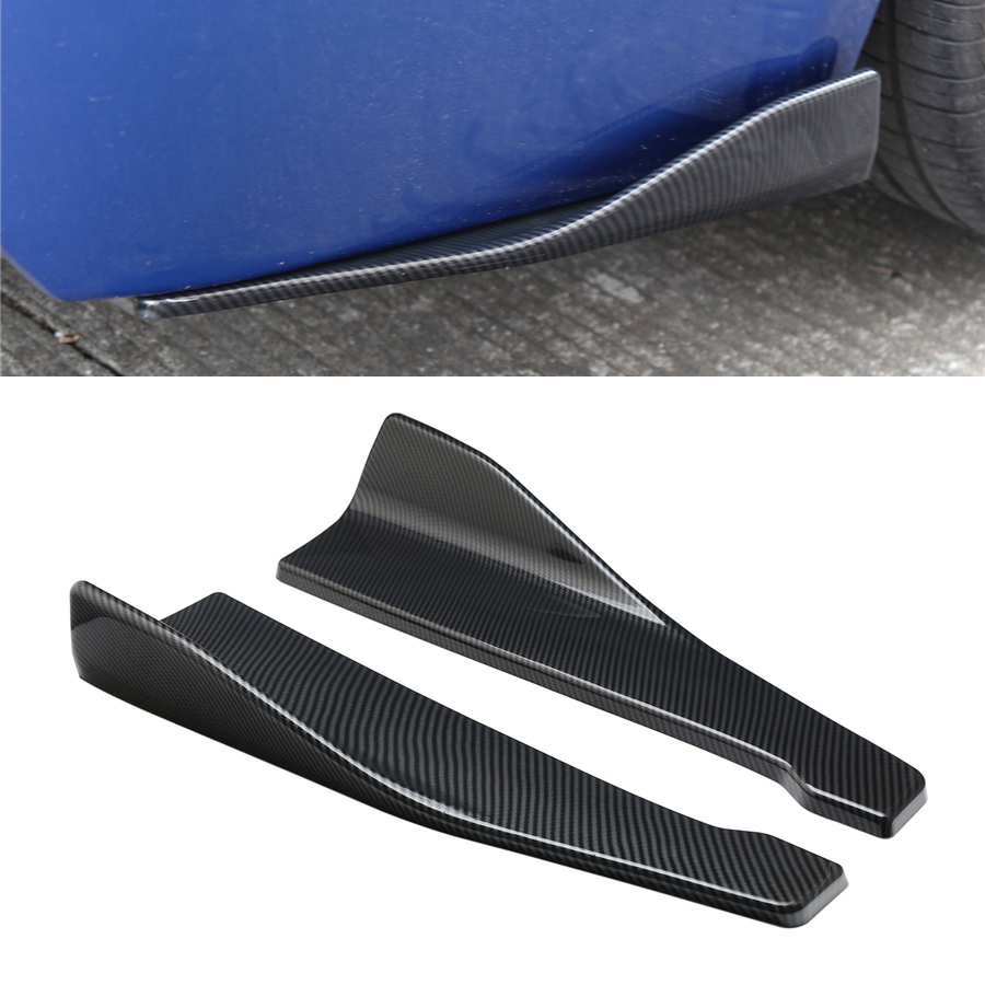 2 Pcs 48cm Carbon Fiber Car Spoiler Rear Lip Angle Splitter Diffuser Anti crash modified Car Body Side Skirt Rocker Splitters