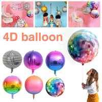 20 pcs/pack 22 pouces 4D arc-en-ciel dégradé Disco feuille rétro ballons pour décorations de fête de thème de mariage