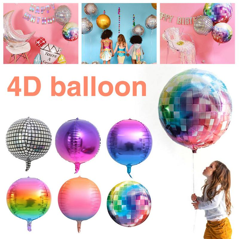 Us 11 99 25 Off 20pcs Pack 22 Inch 4d Rainbow Gradient Disco Foil Retro Balloons For Wedding Theme Party Celebration Decorations In Ballons