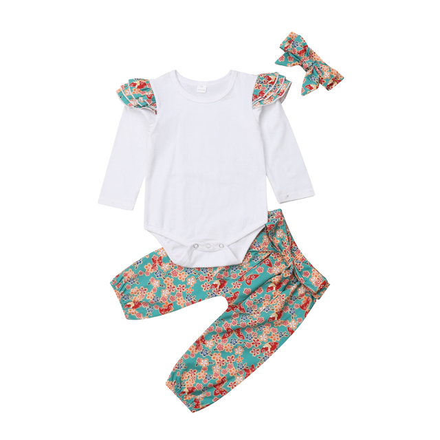 26ac03c44 Newborn Infant Baby Girls Clothes Sets Fly Sleeve Top Romper Floral ...