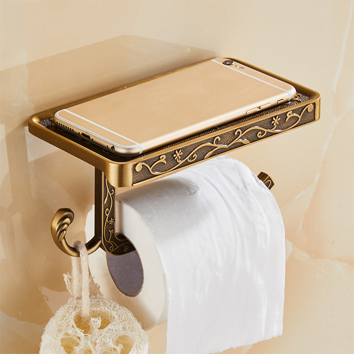Antique Carved Zinc Alloy Bathroom Paper Mobile Phone Holder With Shelf Bathroom Towel Rack Toilet Paper Holder Tissue Boxes