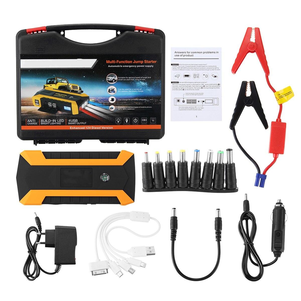 Práctica 89800 mAh 12 V 4USB cargador de batería de coche que del coche salto de arranque de energía Banco Kit de herramienta para Auto dispositivo de arranque