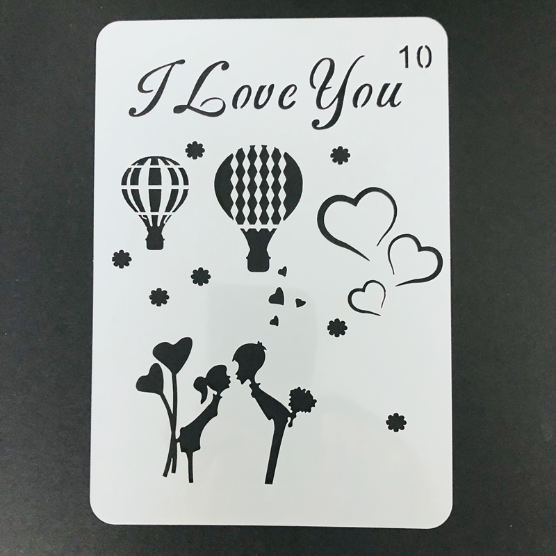 I Love You Balloon Stencil Design For Greeting Cards Making Fabric Wood Rock Painting Furniture Home Decor Welcome Custom