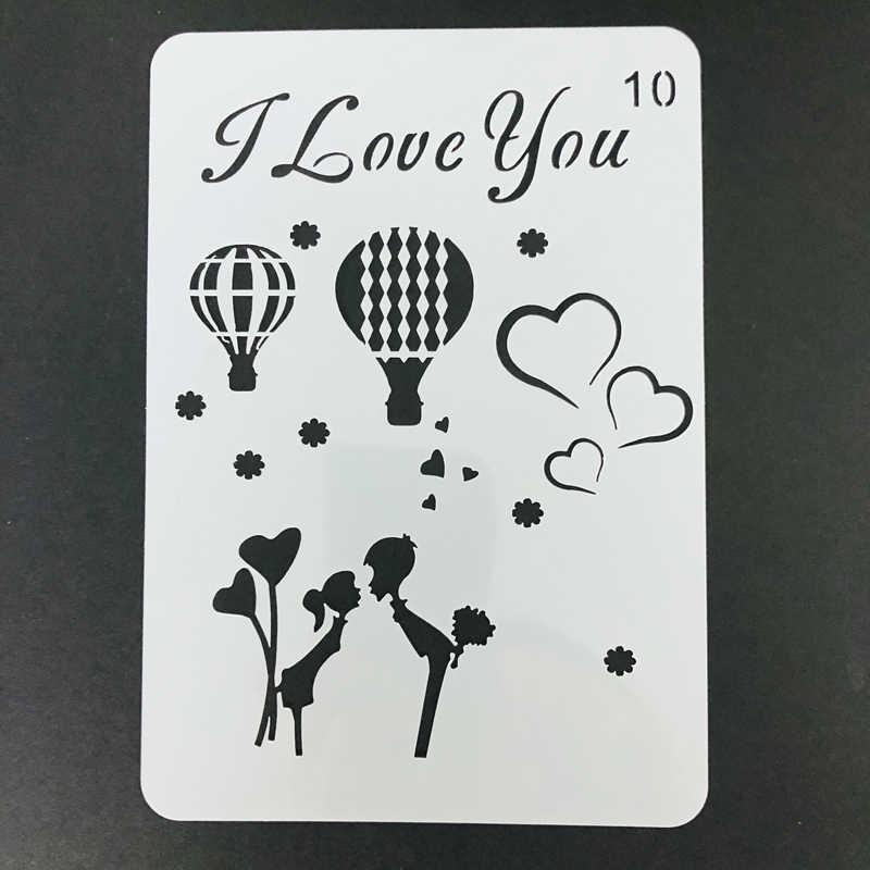 Seni Seviyorum Balon Sablon Tasarim Tebrik Kartlari Icin Yapimi