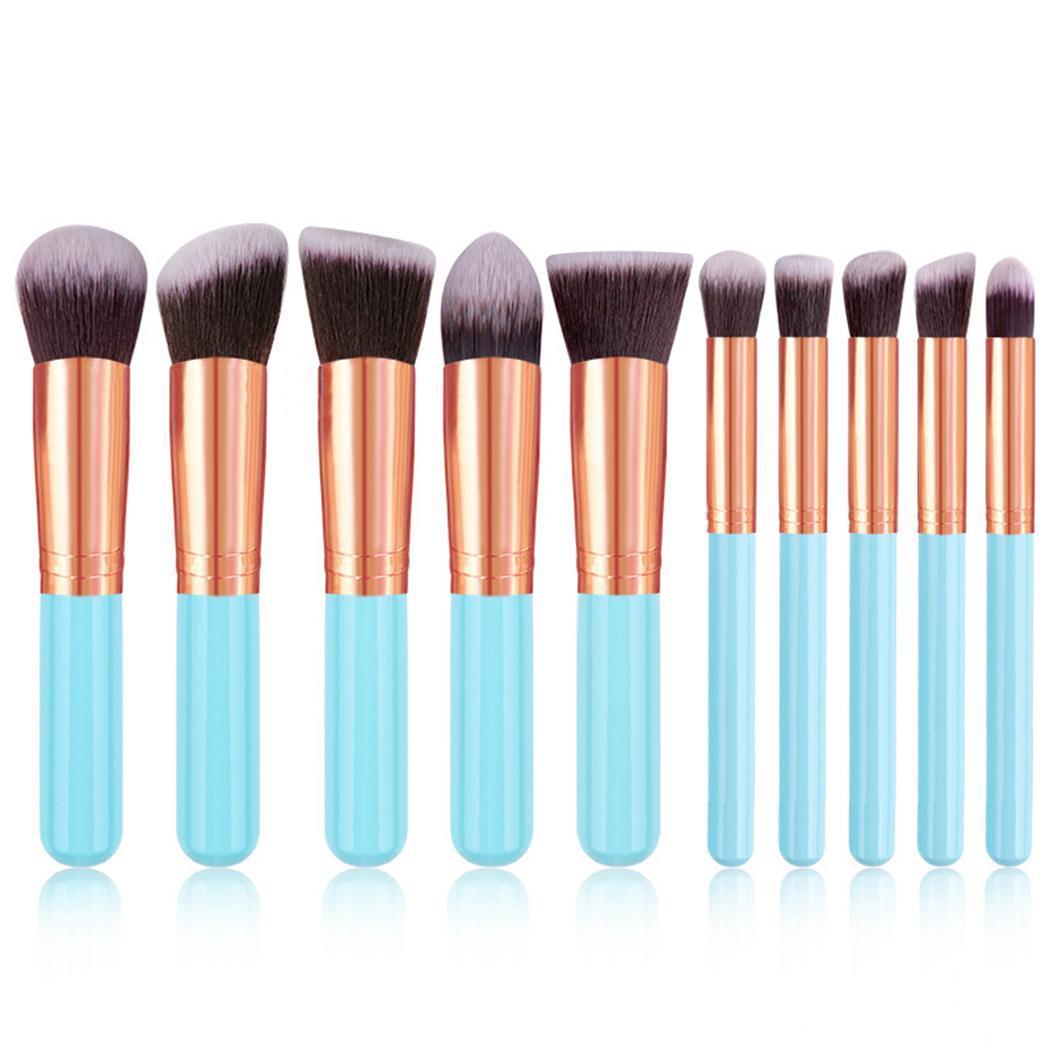 10Pcs Fashion Portable Multifunctional Soft Makeup Brush Set 3cm/1.2inch Wood Makeup Tool 16.5cm/6.5inch