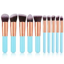 10Pcs Fashion Portable Multifunctional Soft Makeup Brush Set 3cm/1.2inch Wood Tool 16.5cm/6.5inch