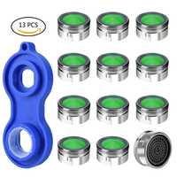 Heißer 12 Pc Wassersparstrahlregler Kupfer aireador grifo 1Pc Wasserhahn Belüfter Schlüssel Jet Regler Filter Ersatzteil für küche Bad