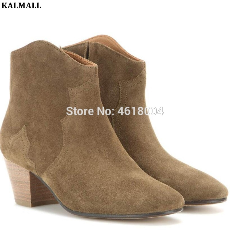 KALMALL Suede Ankle Boots Women Western