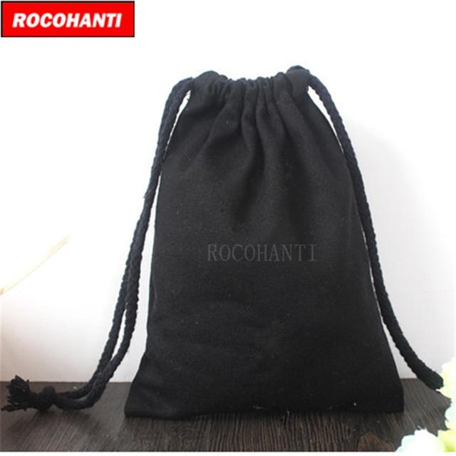 50pcs Custom Logo Printed Black Cotton Canvas Drawstring Bag Small Rope Gift Eco Friendly Packaging