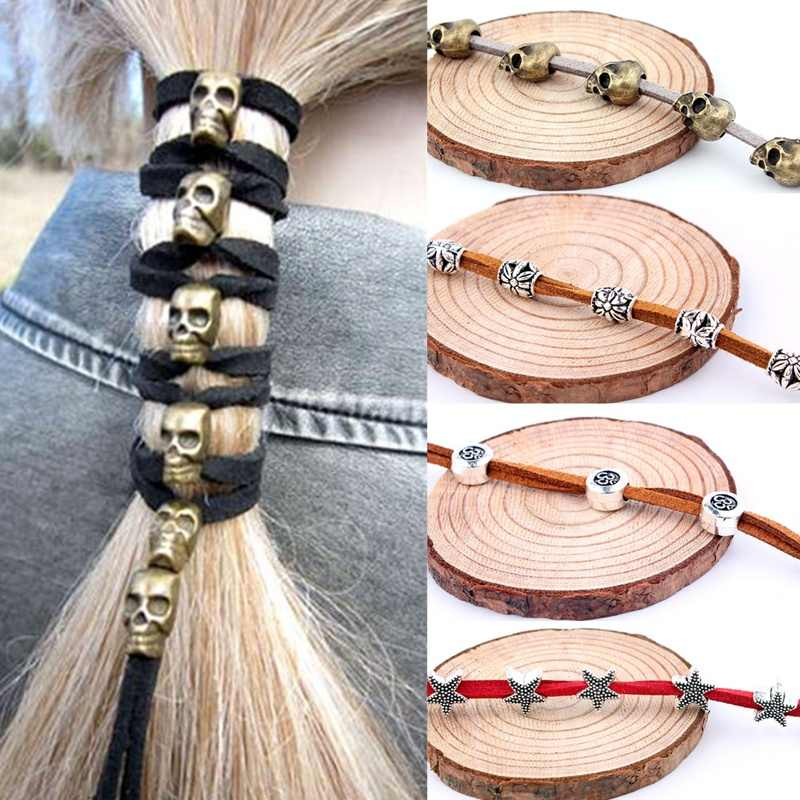 2019 New Hair Rope Vintage Punk Metal Skull Hairband 6 Pendants+90cm Ornaments Women Headwear DIY Accessories Styling Tools