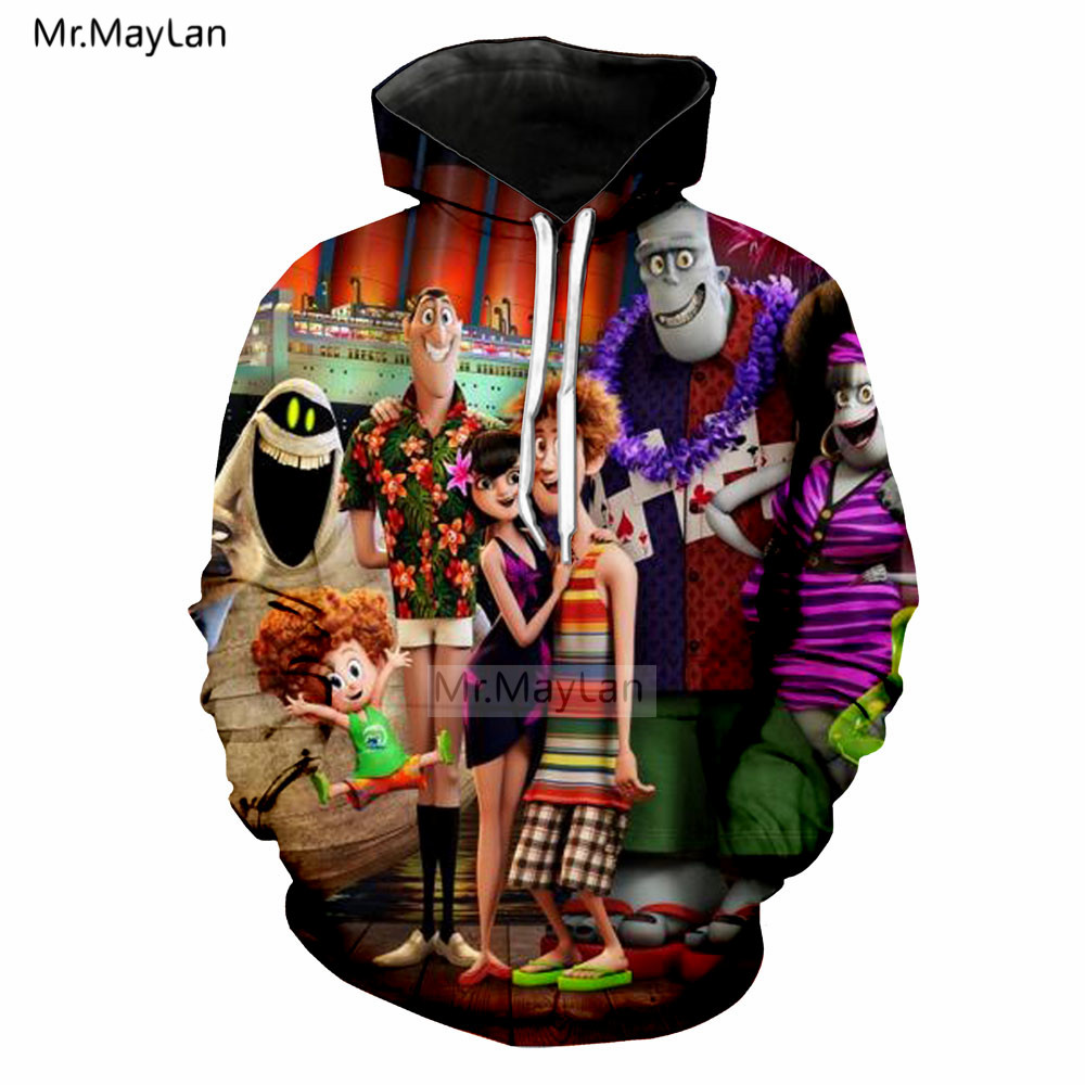 Funny Comedy Hotel Transylvania 3 3D Print Hoodies Men Women Hip Hop Streetwear Jackets Boy Blue Clothes Outfit casaco masculino in Hoodies amp Sweatshirts from Men 39 s Clothing