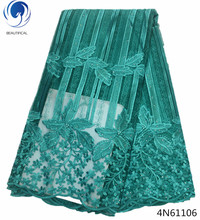 Beautifical wedding lace fabric dubai nigerian french tulle with beads high quality embroidery fabrics 4N611