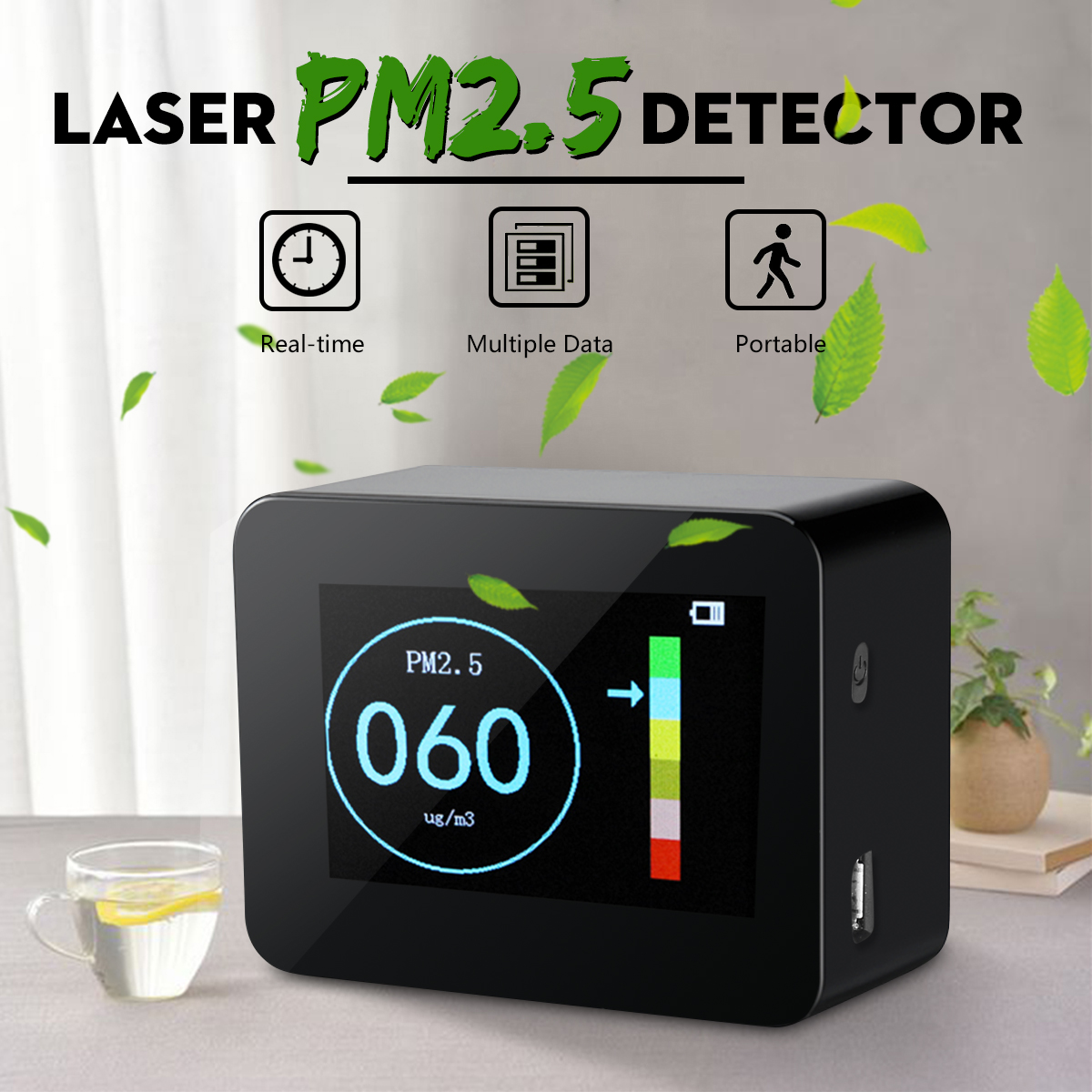 Portable Digital Dispaly PM2.5 Detector Laser Sensor Accurate Home Air Quality Monitor Tester li-ion Battery Diagnostic ToolsPortable Digital Dispaly PM2.5 Detector Laser Sensor Accurate Home Air Quality Monitor Tester li-ion Battery Diagnostic Tools