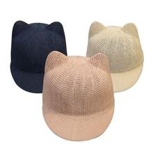 купить Cartoon Straw Baby Cap for Boys Girls Solid Summer Baby Hat with Ears Beach Kids Snapback Hats Children Baseball Cap 5 Colors онлайн