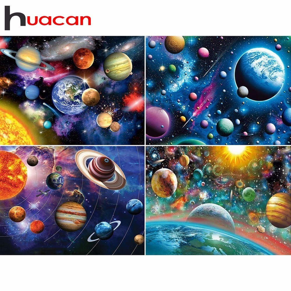 Huacan Diamond Painting Full Square Drill Planet Diamond Embroidery Universe Scenery Cross Stitch Rhinestone Mosaic Kits Gift