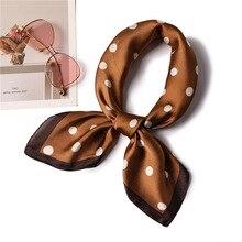 Ruicesstai New Dot Square Scarf Women Neck Hair Tie Band Hotel Waiter Flight Attendants Business Bandana Silk Bag Satin Scarves